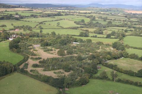 Aerial view of Karuna food forest in the Shropshire hills, UK
